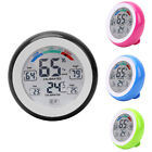 LCD Digital Thermometer Indoor Hygrometer Touch Screen Round Alarm Clock G1V4N
