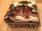 VINTAGE FOOT STOOL OTTOMAN ENGLISH HUNTING horse 3D TAPESTRY Fringe padded rest