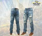 MEN JEANS SLIM STRETCH FIT SLIM FIT HIPSTER RIPPED WASHING TAPER FIT PANTS