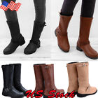Women Buckle PU Leather Flat Boots Ladies Mid calf Biker Slouch Boots Shoes US