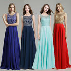 Crystal Chiffon Long Prom Bridesmaid Evening Ball Gown A-Line Party Formal Dress
