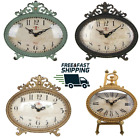 Creative Vintage Antiqued Pewter Mantel Clock Shabby Chic Mantel Table Clock NEW