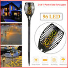 Waterproof 96 LED Solar Tiki Torch Light Dancing Flickering Flame Lamp 2-10Pack