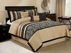 HIG 7 Piece ODESA Print & Embroidery Comforter Set-Queen King Cal.King Size image