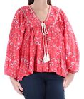 FREE PEOPLE Womens New 1374 Coral Floral V Neck Long Sleeve Casual Top L B+B