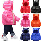 Toddler Baby Kids Boys Girls Quilted Jacket Winter Warm Hooded Coat Outerwear