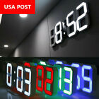 3D Dimmer LED Digital Alarm Clocks USB Battery Wall Table 24 12 Hour Snooze US