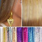 100 Strands Holographic Sparkle Hair Tinsel Glitter Extensions Dazzles 39