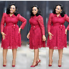 Women Evening Cocktail Dress Plus Size Lace Skirt Casual Dresses Bow Long Sleeve