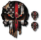 3 PK PUNISHER THIN RED LINE AMERICAN FLAG SKULL VINYL DECAL STICKER FIREFIGHTER