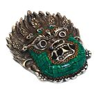 Malachite Nepali Wall Décor Sculpture 925 Sterling Silver Overlay Jewelry