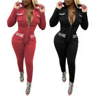 Women Long Sleeves Zipper Embroidery Letter Casual Club Long Bodycon Jumpsuits