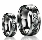 Mens Or Ladies Tungsten Carbide LOYAL CELTIC KNOT DRAGON Wedding Band Ring SET