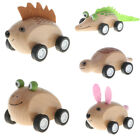 Chunky Wooden Animal Car Toys Pull Back Go Vehicles Educational for Baby Toddler