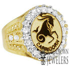Men's Real Yellow Gold Sterling Silver Lab Diamonds Zodiac Astrology Pinky Ring