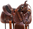 16 17 18 Western Trail Horse Tack Headstall Reins Breast Collar Saddle Set