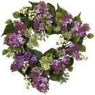 Nearly Natural Hanel Lilac Wreath 20.0 in. H Purple Berries Verdant Leaves