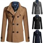 Mens Double Breasted Trench Coat Winter British Lapel Slim Woolen Parka Ths01