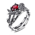Vintage Women Silver Blue Topaz Dragonfly Lotus Ring Wedding Party Jewelry image