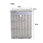 Premium Grey Paint Laundry Wicker Basket Cotton Lining With Lid Bathroom Storage