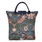 Foldable Shopping Bag Reusable Grocery Tote In William Morris Tapestry Design