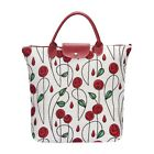 Foldable Shopping Bag Reusable Grocery Tote In Mackintosh Rose Floral Design