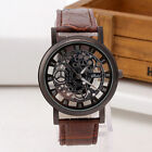 Men's Skeleton Stainless Steel Hollow Leather Analog Quartz Wrist Watch Fashion image