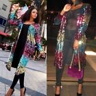 Women's Cover Up Long Sleeve Sequins Metallic Open Front Cardigan Coat Jacket