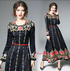 Royal Women's chic Spring Long printing retro flowers casual derss outwear Hot