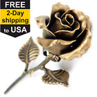 Bronze Anniversary Gift - Hand Forged Metal Rose (Bronze Stained)