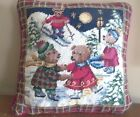 TEDDY BEARs skating NEEDLEPOINT ski sledding CHRISTMAS sofa throw bed PILLOW