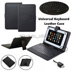 "US Micro USB Keyboard Leather Case Cover Stand For 7.0"" 8.0"" 10"" 10.1"" Tablets"
