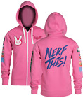 NEW J!NX Overwatch D.Va Ultimate Hoodie Jinx Pink Men's Zip Up L XL 2XL XXL DVa