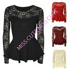 WOMEN'S LADIES CASUAL / PARTY FLORAL LACE  LONG SLEEVE POPCORN FRILL PEPLUM TOP