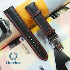 Genuine leather bracelet Watchband Carbon fiber grain Red stitching  20mm 22m...
