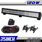 120W 25inch LED Light Bar SPOT FLOOD DUAL ROW Offroad 4WD Truck BOAT Car 24/26