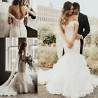 Off The Shoulder Mermaid Wedding Dresses With Tiered Ruffles Organza Bridal Gown