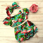 USA 3pcs Toddler Kids Baby Girl Flamingo Off Shoulder Top Pants Outfits Clothes