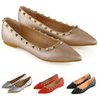 New Womens Flat Pointed Shoes Ladies Studded Slip On Ballet Pumps Size 3-9