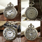 MENS POCKET WATCH CHAIN STEAMPUNK ANTIQUE RETRO SKELETON VINTAGE WATCHES UNISEX image