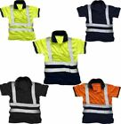 Men High Visibility Polo Tshirt Top Adults Reflective Tape Work Wear Tee Top