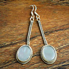 Natural Huge White Ovak Pearl Gem 925 Solid Silver Long Chain Handmade Earring