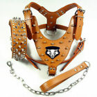 Spriked Studded PU Leather Pet Dogs Harness&Collar&Leash Set For Pitbull Bully