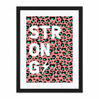 Leopard+Coral+And+Green+Strong+Words+Large+Framed+Art+Print+Wall+Poster