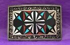 VTG STERLING SILVER NATIVE ZUNI STYLE MOTHER PEARL TRIBAL GEM INLAYS BELT BUCKLE