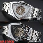 New Men Classic Transparent Skeleton Mechanical Automatic Stainless Steel Watch