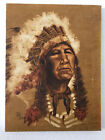 """Pat Elley Painting Portait of Chief in Headress Signed 1982 Sepia16""""x12"""" Canvas"""