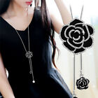Black Rose Flower Long Pendant Necklace Sweater Chain Crystal Women Jewelry-gift