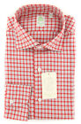 New $375 Finamore Napoli Red Plaid Shirt - Extra Slim - (201802277)