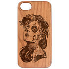 Natural Luxury Wood Phone Cherry&PC CaseCover For iPhone-Galaxy-DAY OF DEAD GIRL